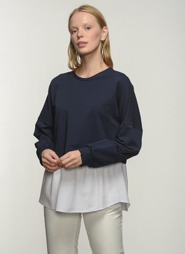 People By Fabrika People By Fabrika Poplin Detaylı Kadın Sweatshirt Lacivert